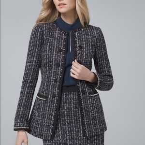 NWT White House Black Market Tweed Topper Size L